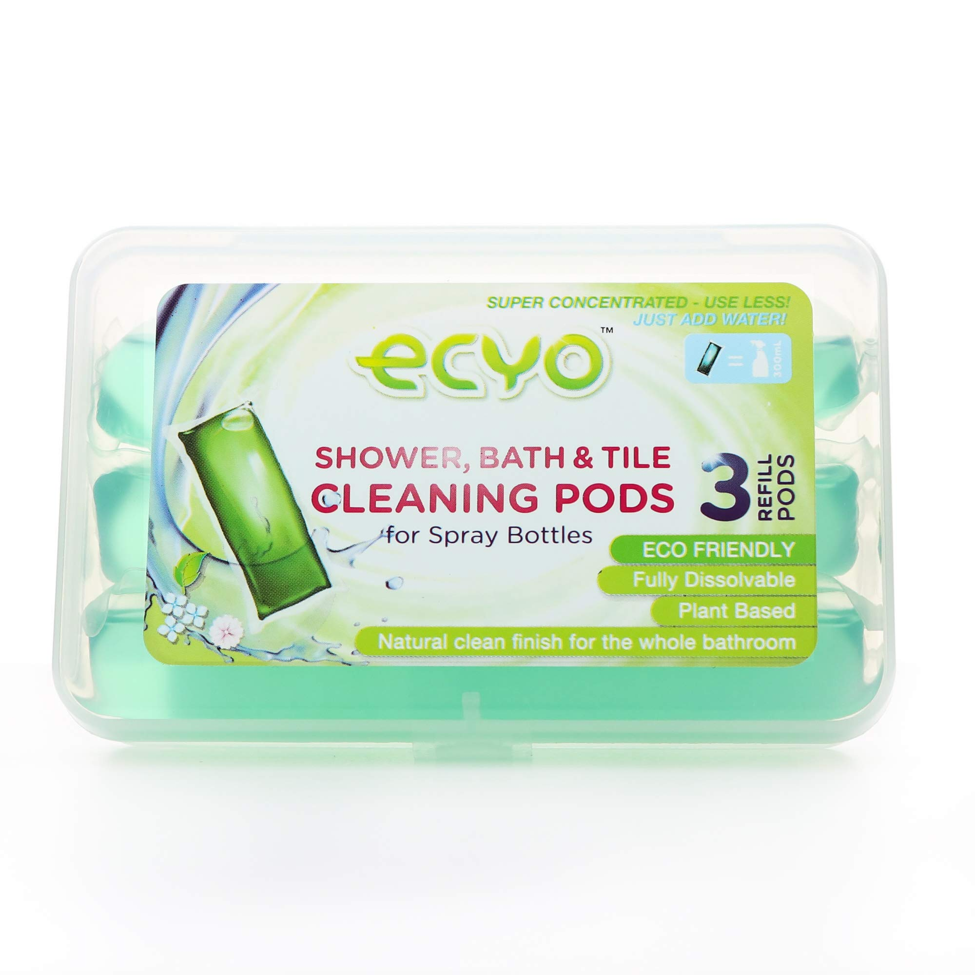 Ecyo Shower, Bath and Tile Cleaning Pods with 3 Refill Pods, Disinfecting, Streak Free, Eco-Friendly Cleaning Products by Ecyo