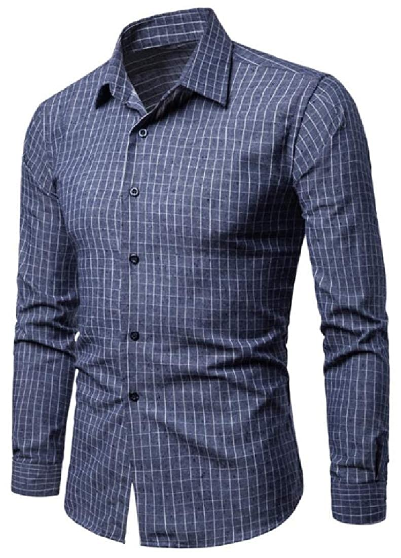 Mstyle Men Long Sleeve Plaid Formal Casual Turn Down Collar Button Down Dress Shirts