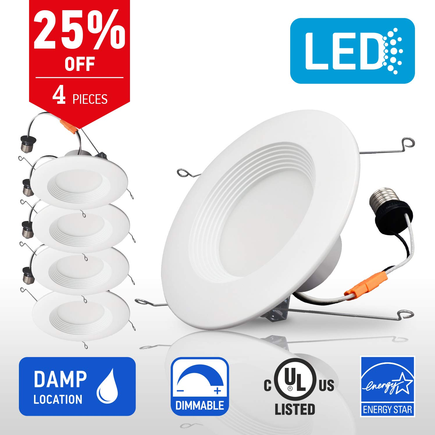 OSTWIN Recessed Lighting, Led 5-6 inch Can Pot Lights for Ceiling, Round Downlight Retrofit Kit Fixture, Baffle Trim, 18W (90 Watt), 4000K (Cool White) Dimmable, (4 Pack) UL & Energy Star Listed