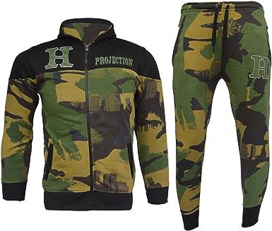 Kids Boys Girls Tracksuit HNL Royal Camouflage Hoodie /& Botom Jogging Suit 7-13Y