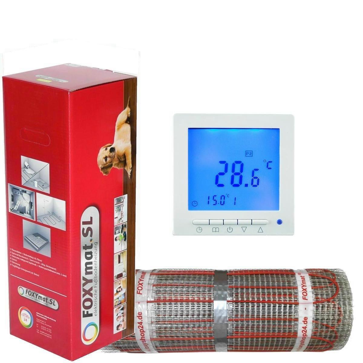 3.5 m/² mit Thermostat QM-BLUE,Komplett-Set 200 Watt pro m/²,f/ür die schnelle Erw/ärmung FOXYSHOP24-elektrische Fu/ßbodenheizung PREMIUM MARKE FOXYMAT.SL RAPID 0.5m x 7m