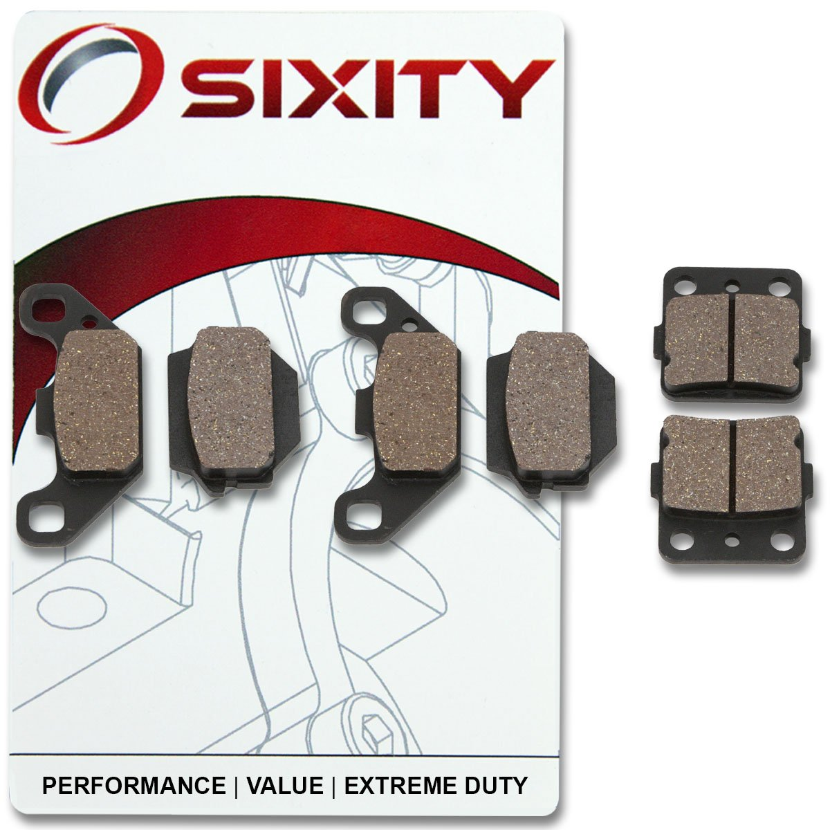 Sixity Front Rear Organic Brake Pads 1987-1993 for Suzuki LT230E QuadRunner Set Full Kit