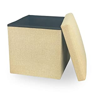 Storage Ottoman Cube Folding Ottomans with Storage Foot Rest Stool Seat Foldable Storage Ottoman Square Toy Chest Padded with Memory Foam Lid Sofa Bed Bench for Space Saving 11.8x11.8x11.8 inch, Cream