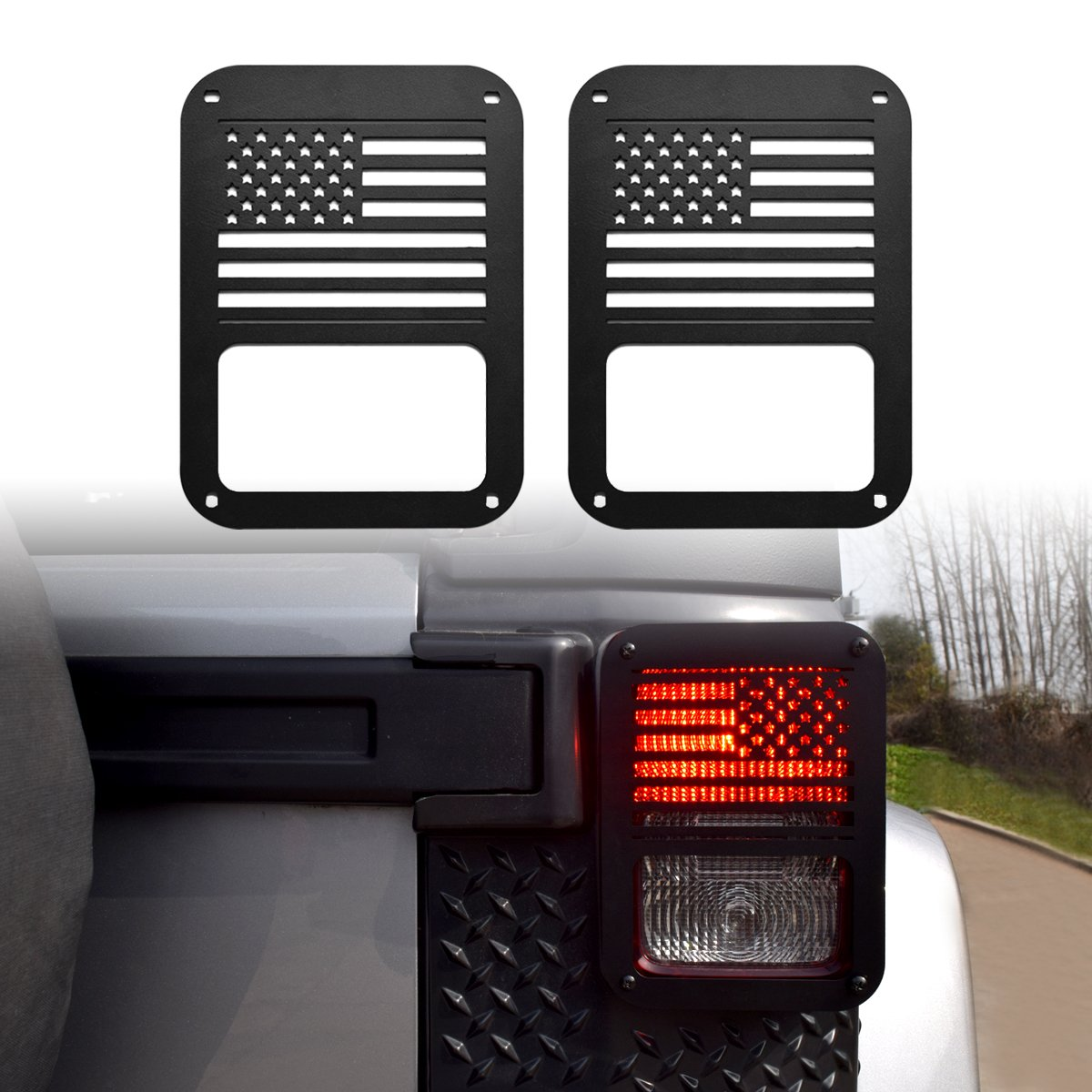 Black Dog Paw Stainless Steel Guard Light Cover Kit for Jeep Wrangler JK JKU Unlimited Rubicon Sahara X Off Road Sport Exterior Accessories Parts 2007 2008 2009 2010 2011 2012 2013 2014 2015 2016 2017
