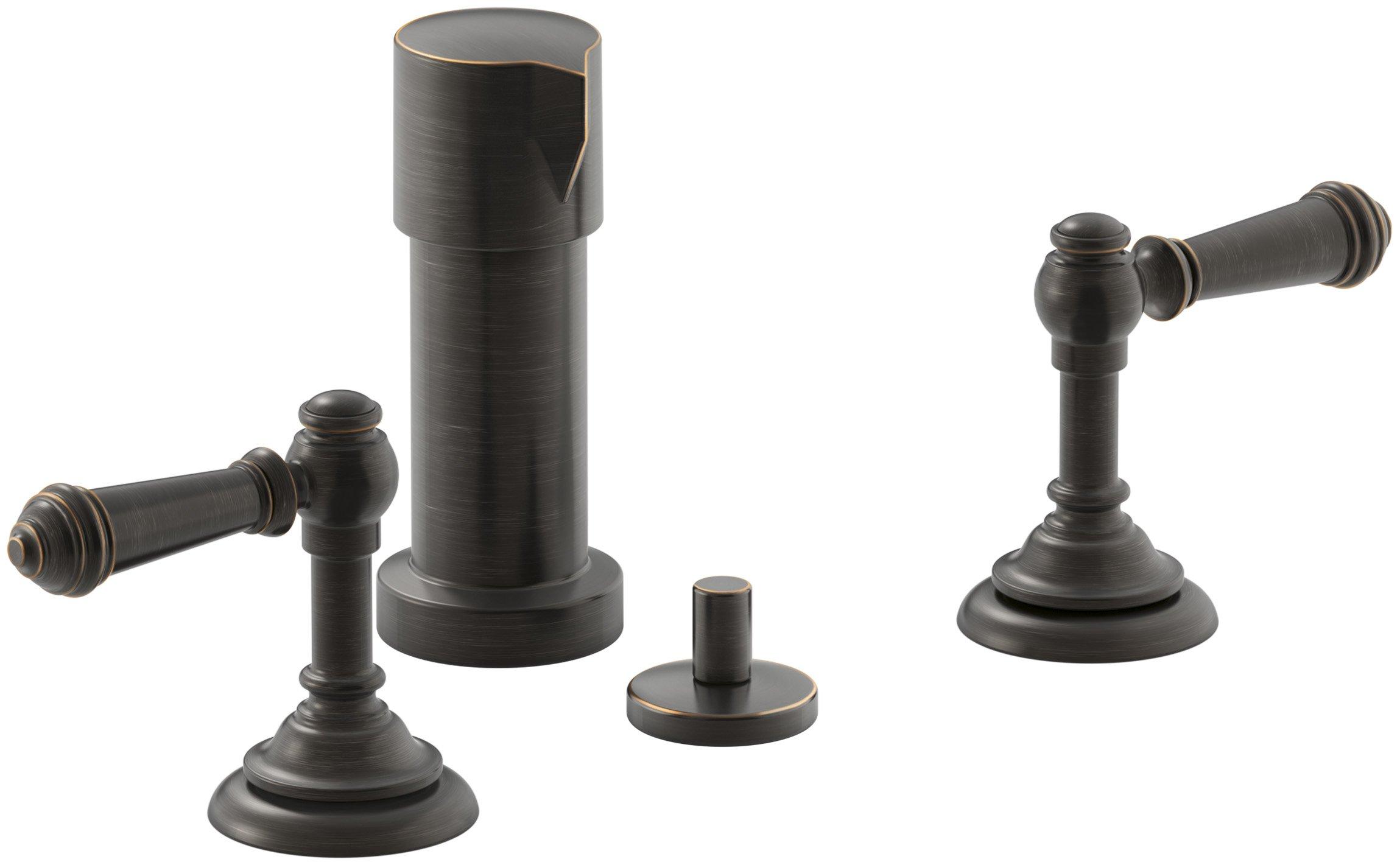 KOHLER K-72765-4-2BZ Artifacts Widespread bidet faucet with lever handles, Oil-Rubbed Bronze