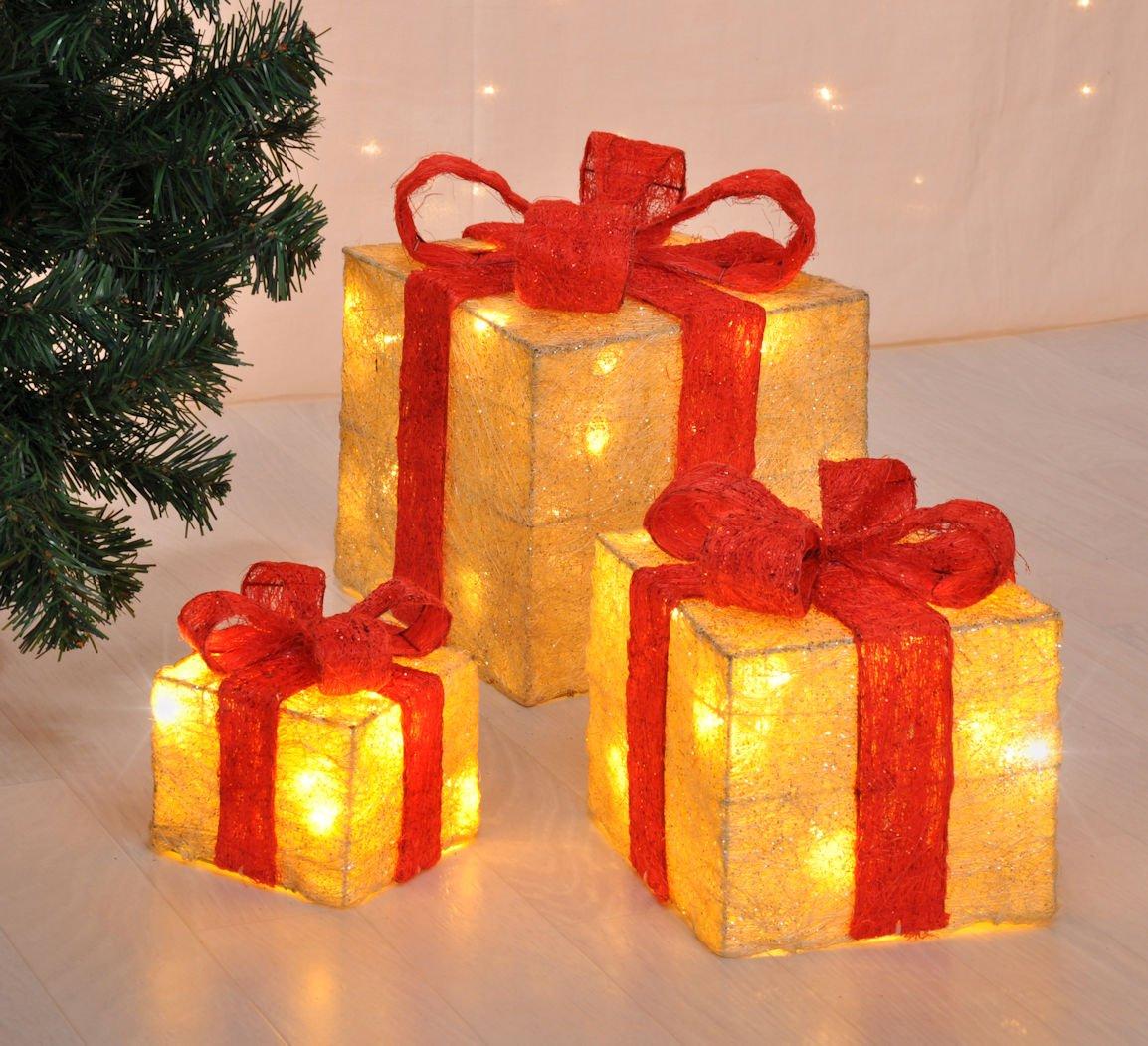LED Deko Geschenk Boxen - 3er Set inkl. Timer Funktion - Weihnachts Dekoration Weihnachtsdeko Geschenke Spetebo