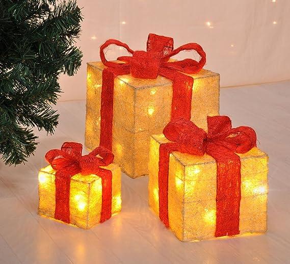 Caja de regalo decorativa con led - juego de 3con función de temporizador, para decoración