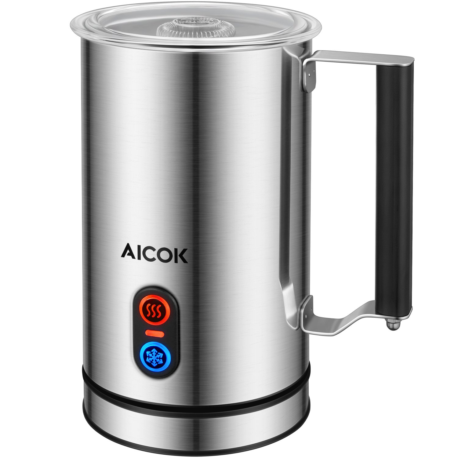 Milk Frother Aicok, Electric Milk Steamer with Hot or Cold Milk Foaming Functions, Stainless Steel, Strix Controller, Non-Stick Coating, Silent Operation, Milk Warmer, for Making Latte, Cappuccino