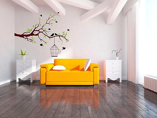 Jaula de Pájaros sobre el árbol Rama Arte Pegatinas de pared para ...