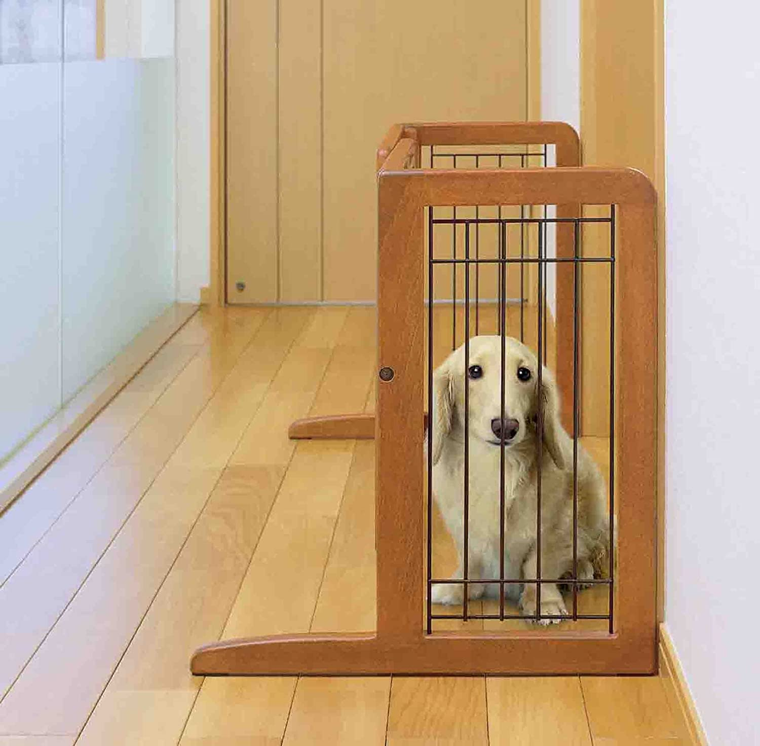 Richell Wood Freestanding Pet Gate, Small, Autumn Matte Finish 94135