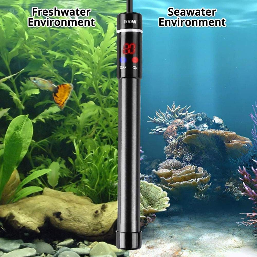 MQFORU Titanium Alloy 50-500W Aquarium Heater for Salt and Fresh Water Digital LED Display Submersible Heater with External Thermostat Controller 200W