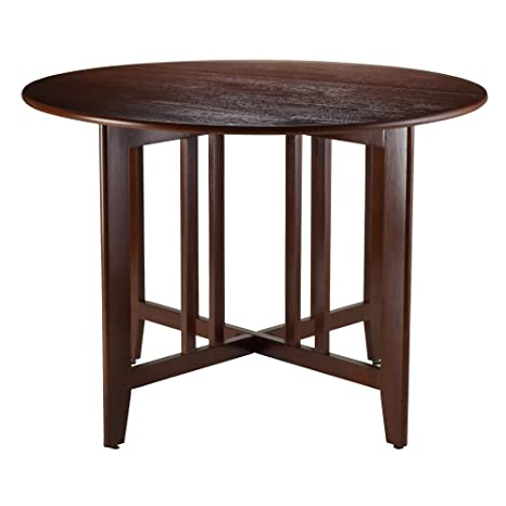 Mission Round Table.Winsome Wood Alamo 94142 Double Drop Leaf Round Table Mission Walnut 42 Inch