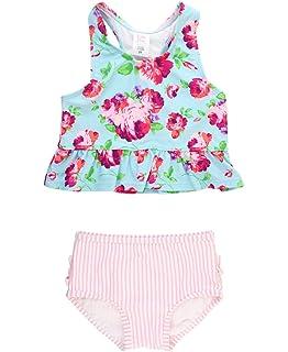 227f2bcf5310d RuffleButts Baby/Toddler Girls Cropped Peplum Tankini 2 Piece Swimsuit  w/Ruffles
