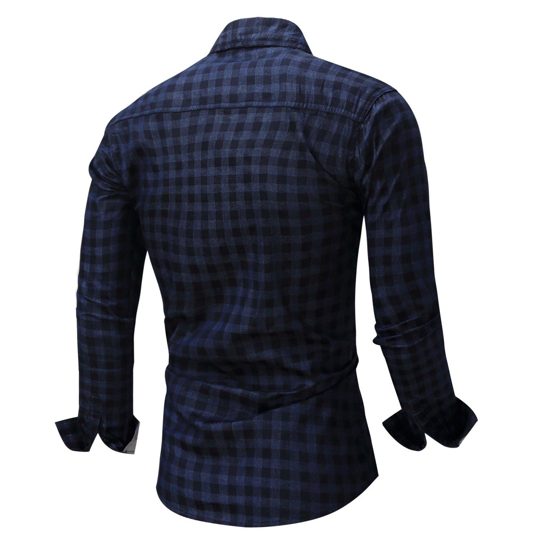 Fredd Marshall Mens 100/% Cotton Long Sleeve Plaid Casual Shirts Button Down Regular Fit Lapel