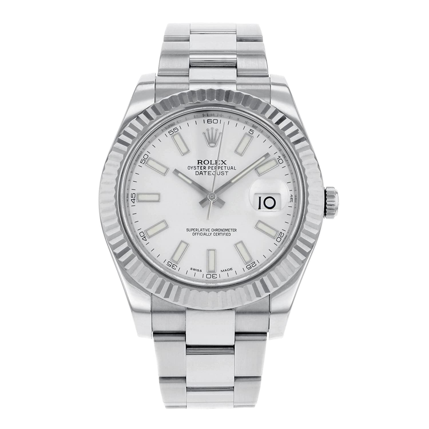 ii rhodium product wristshot gold watches rolex datejust white bezel with dial arabic fluted
