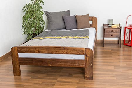 Bed Frame - Solid Wood Pine Nut Colour A6 INCLUDING Slatted Frame