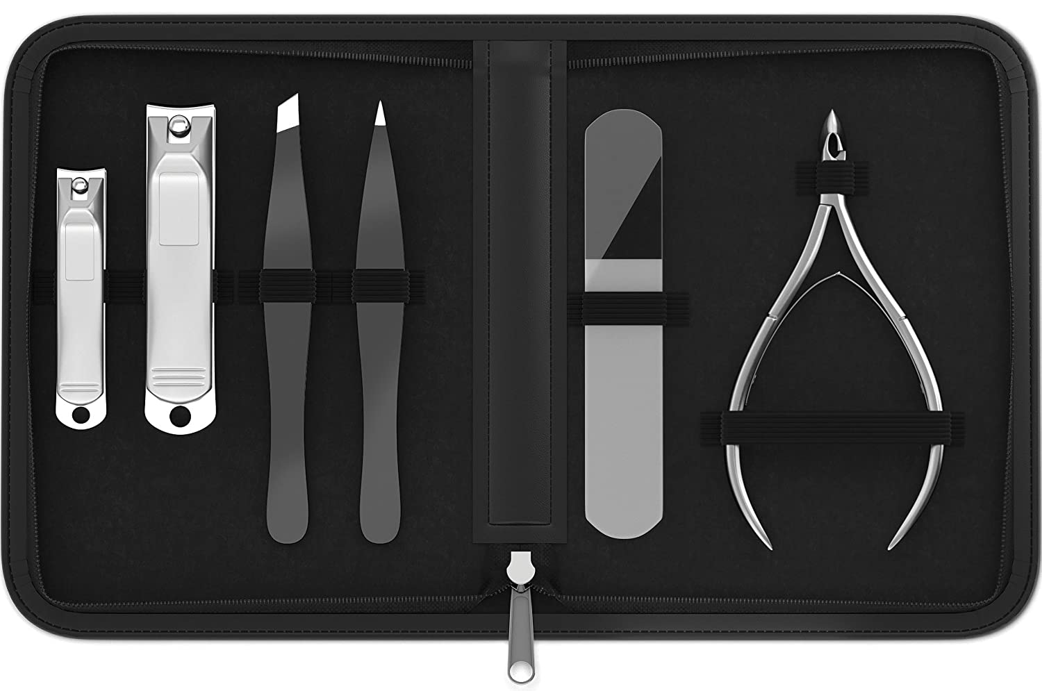Manicure & Pedicure for Women and Men -Shear Guru: Complete Personal Care 6-Piece Grooming Kit including Premium Nail Clippers for Thick Nails + Nail Trimmer + Tweezers and Portable Luxury Travel Case