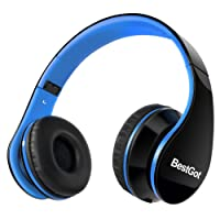 BestGot Headphones Over Ear Kids Headphones with Microphone Volume Control Lightweight Noise Isolating Headsets with Detachable 3.5mm Cable for Apple Android Smartphone Tablets Laptop (Black/Blue)