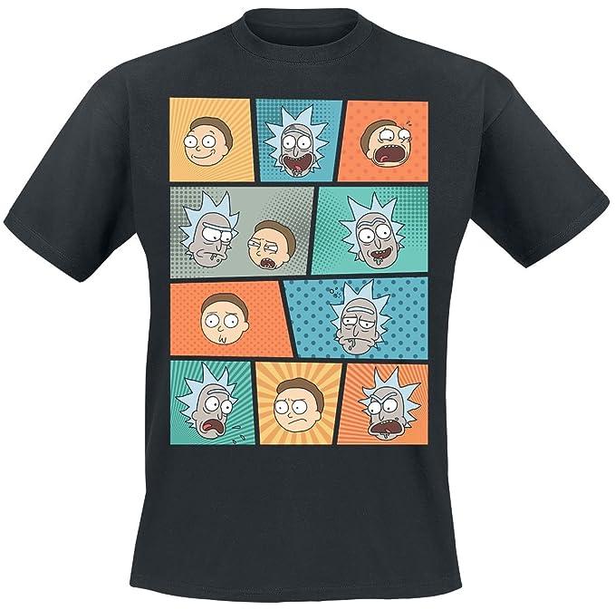 Rick & Morty Camiseta Rostros Pop Art (Negro) FQkl5MG5