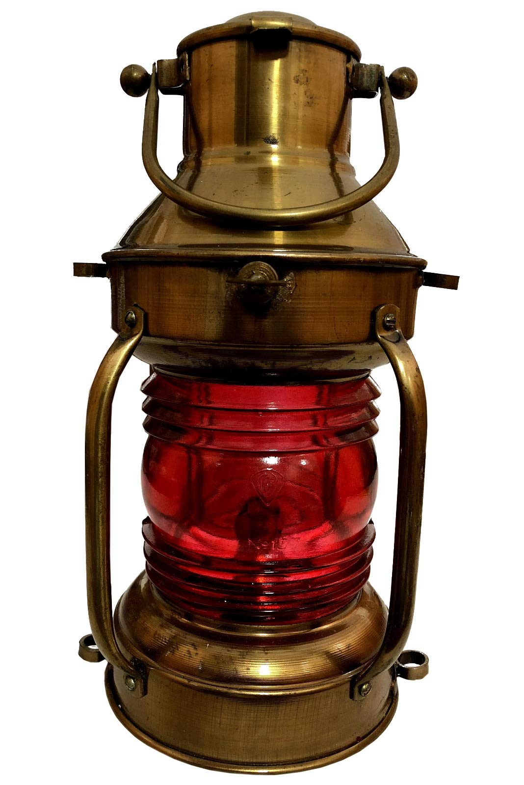 Global Art World Antique Red Round Shape Nautical Personalized Ship Boat Maritime Lamp Décor Lantern Hanging Oil Lamps ML 016
