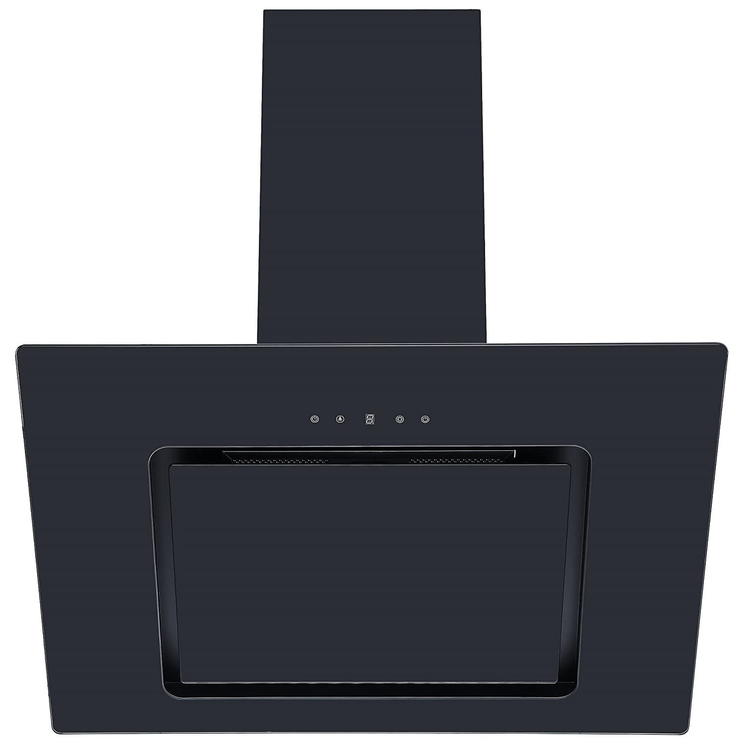 Cookology VER705BK 70cm Black Angled Glass Chimney Cooker Hood | Touch Controls [Energy Class C]