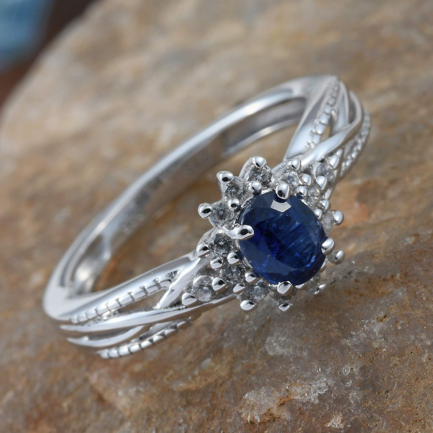 Statement Ring 925 Sterling Silver Platinum Plated Kyanite Zircon Jewelry for Women Size 7 Ct 0.5