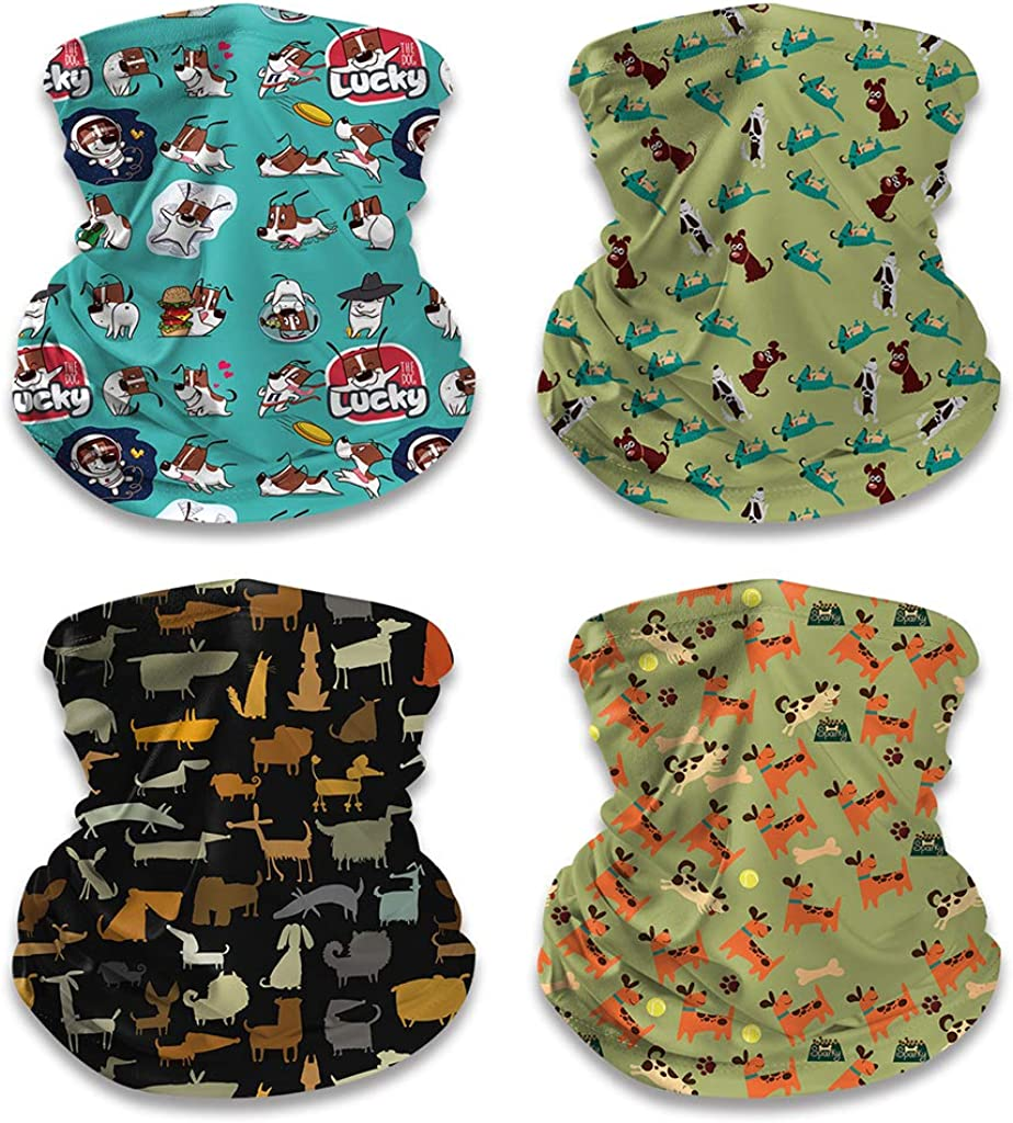 4 Pack Kids Neck Gaiters Bandanas Summer Face Covering for Children Cute Face Mask Scarf Headband
