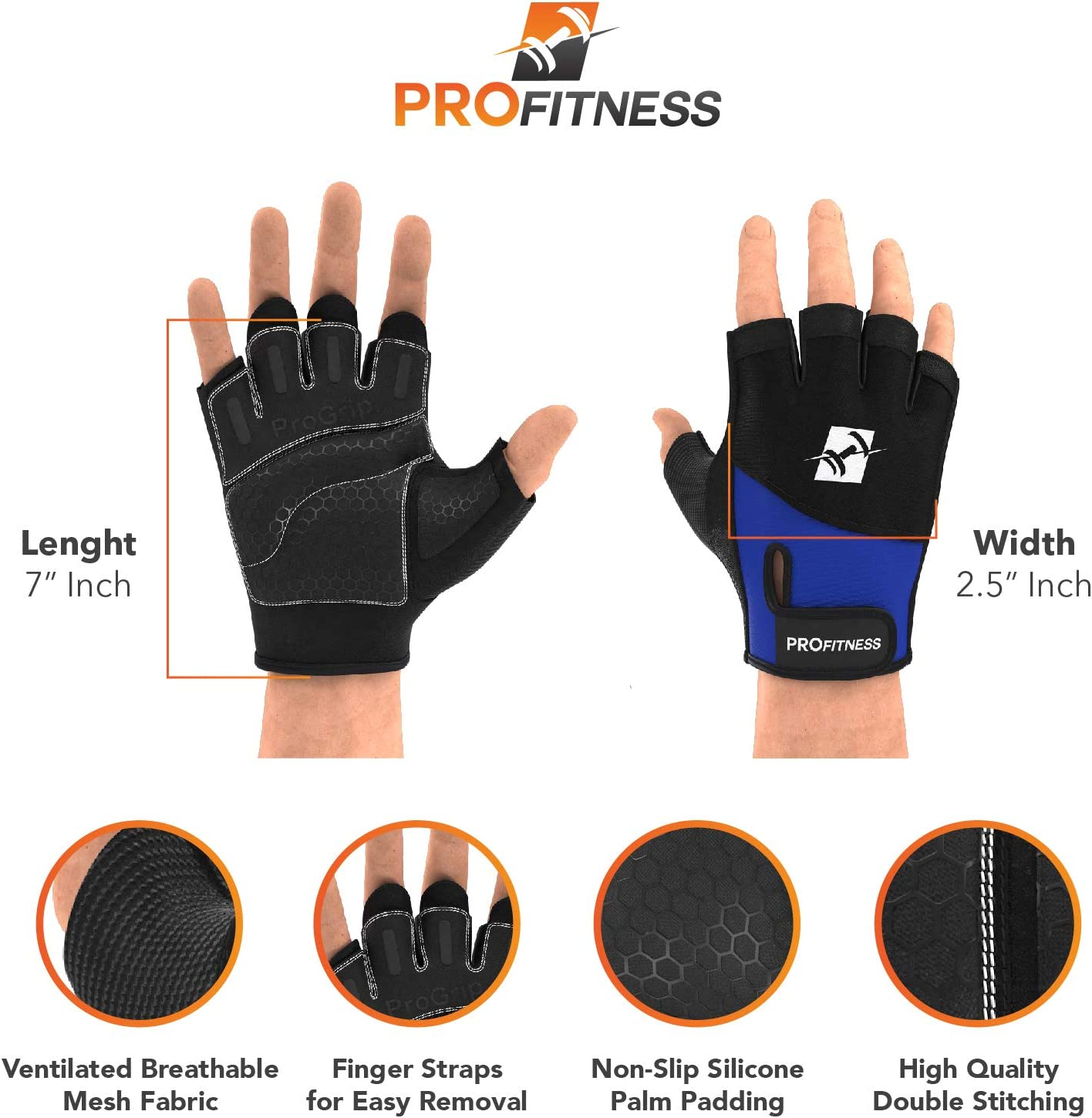 WODs W//Non-Slip Silicone Grip Padding to Avoid Calluses ProFitness Weight Lifting Workout Gloves with Wrist Wrap Support for Men /& Women Weightlifting for Cross Training Gym Work Out Training