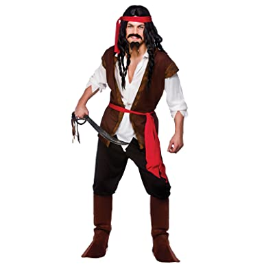 s mens caribbean pirate man costume for sea buccaneer fancy dress mans male