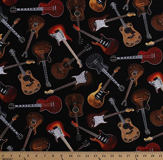 MUSIC COLORED GUITARS Cotton Fabric 1//2 Yard to 1 YARD HARD TO FIND!