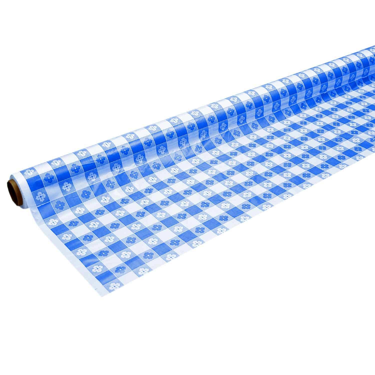 Party Essentials Heavy Duty Printed Plastic Banquet Table Roll Available in 27 Colors, 40'' x 150', Blue Gingham