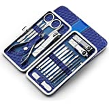 Nail Clippers Set 18pcs Stainless Steel Manicure Pedicure Ear Pick Foot Care Hard Care (blue)