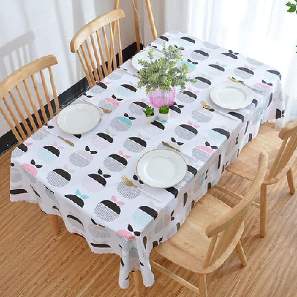 WJJYTX Wachstuch tischdecke, Quadratische Tischdecke für Tischtücher PVC-Tischtuch ölbeständig/wasserdicht schmutzabweisend Verbrühschutz-Kaffeetischdecke Apple @ 135 * 200