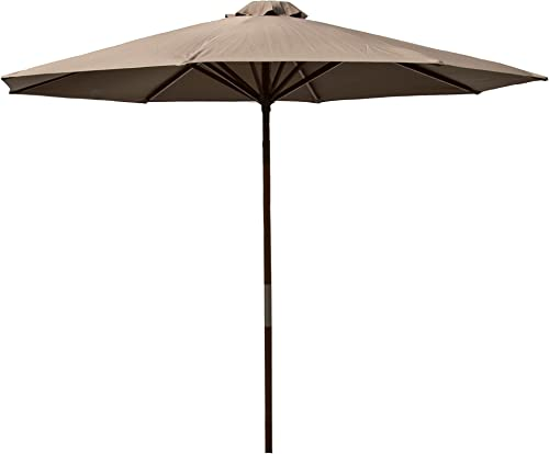 Heininger 1285 DestinationGear Classic Wood Chocolate 9 Market Umbrella