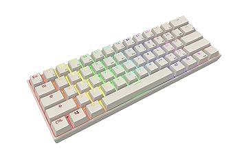 61 teclas teclado mecánico, Full RGB retroiluminación PBT teclas para PC, portátil, Smartphone, Pad, Tablet (marrón interruptor, color blanco): Amazon.es: ...