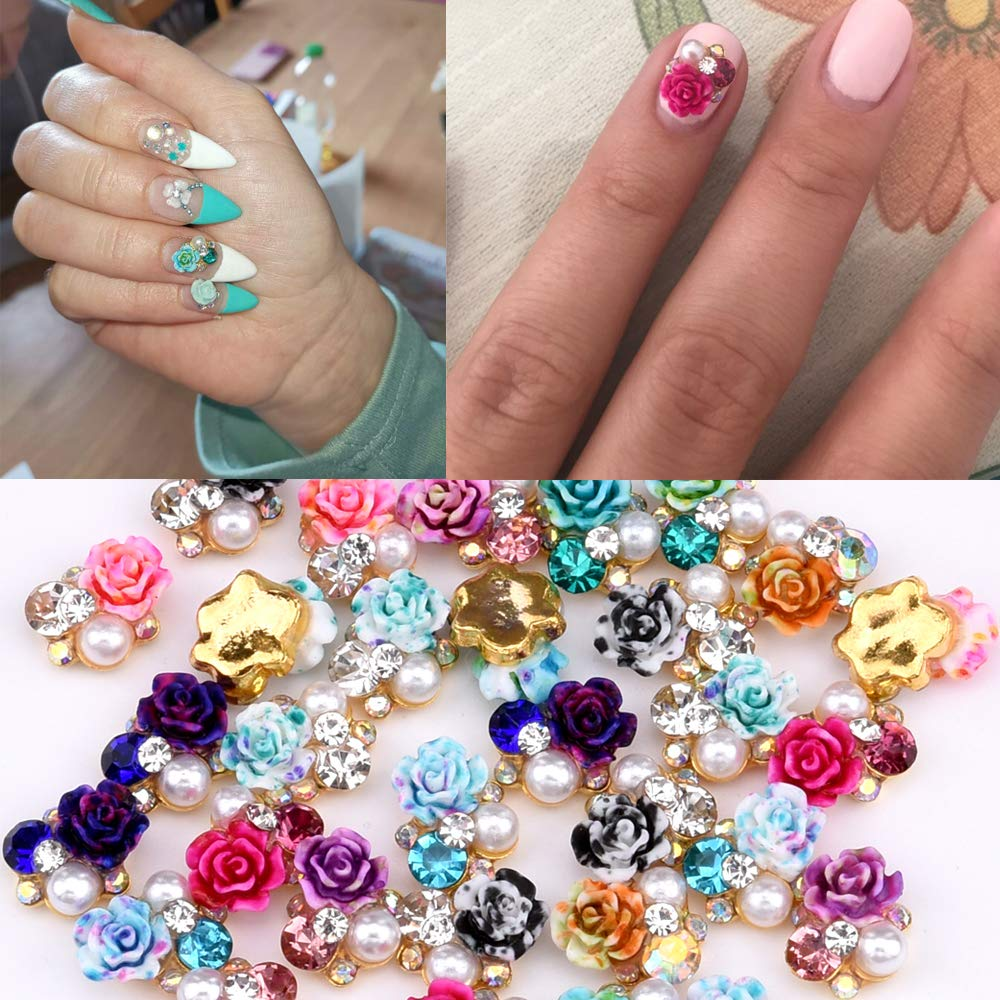 36pcs Colored Flowers 3d Nail Jewelry And Decorations in Crystal Rhinestones 9 Designs Mixed Perfect Size Charms for Nail Decor