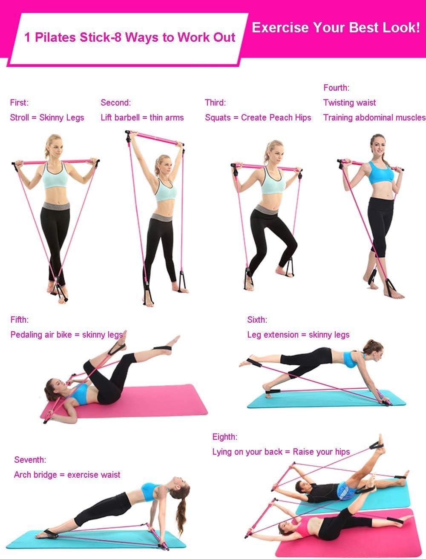 Hihey Sportger/ät f/ür Zuhause Tragbares Pilates Bar Kit mit Widerstandsband Yoga Pilates Stick Yoga Gymnastikstange