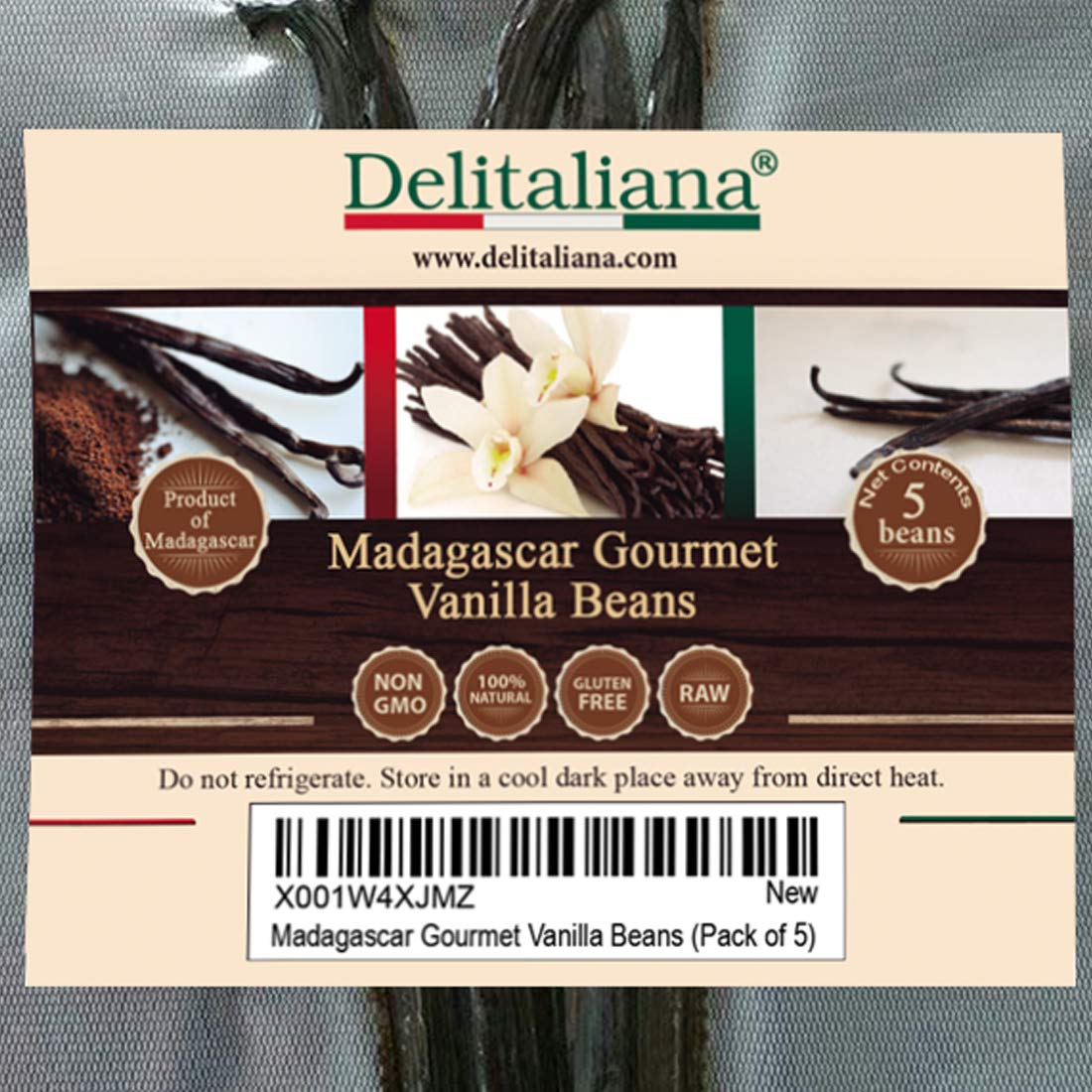 Delitaliana Grade A Madagascar Gourmet Vanilla Beans, 5~6'' (Pack of 5)