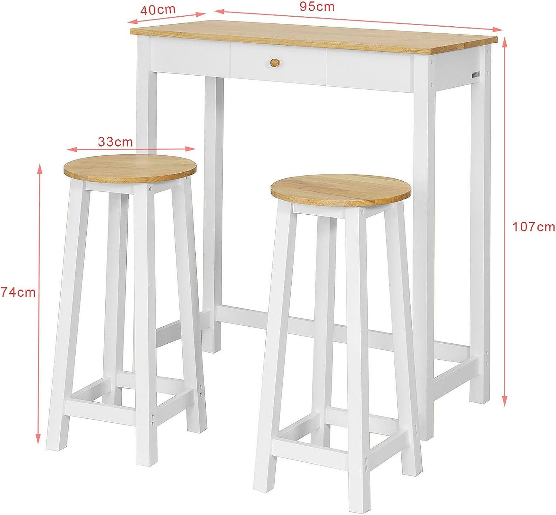 SoBuy Consolle Tavolo Alto Bar con 2 sgabelli Penisola Cucina Mobile Piano in Legno di Hevea A107 cm, FWT50 WN