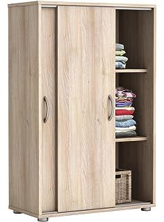 armario bajo zapatero color haya de puertas correderas xcm mueble auxiliar almacenaje ropa calzado