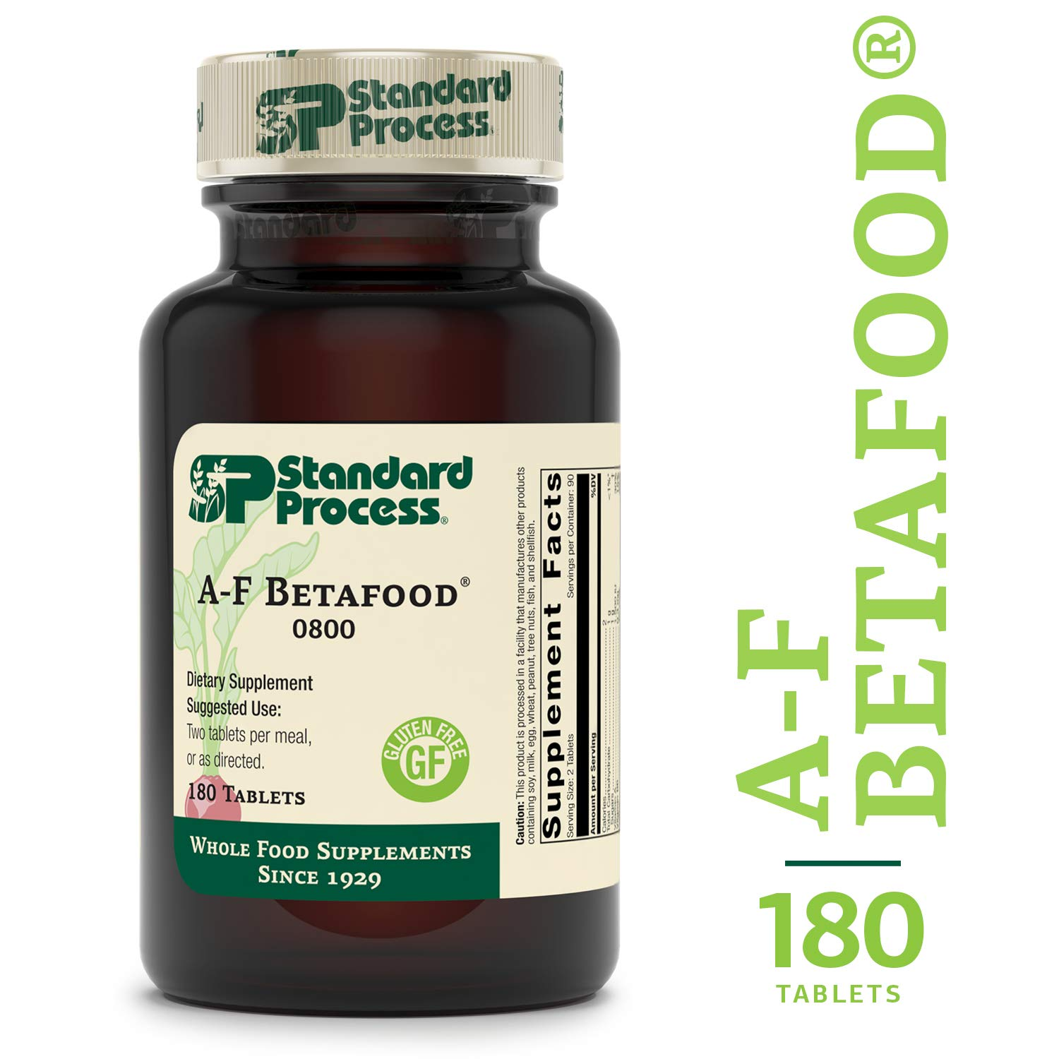 Standard Process - A-F Betafood - Whole Food Gluten Free Digestive Supplement, 1500 IU Vitamin A, Supports Healthy Fat Digestion, Cholesterol Metabolism, and Healthy Bowel Function - 180 Tablets