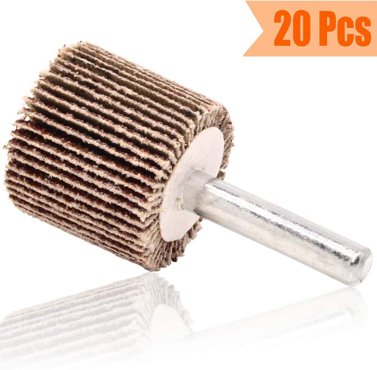 Abrasive Grinding Tool Facibom 20 Pack Mounted Flap Wheel 80 Grit Aluminum Oxide Sanding Flap Wheels for Drill
