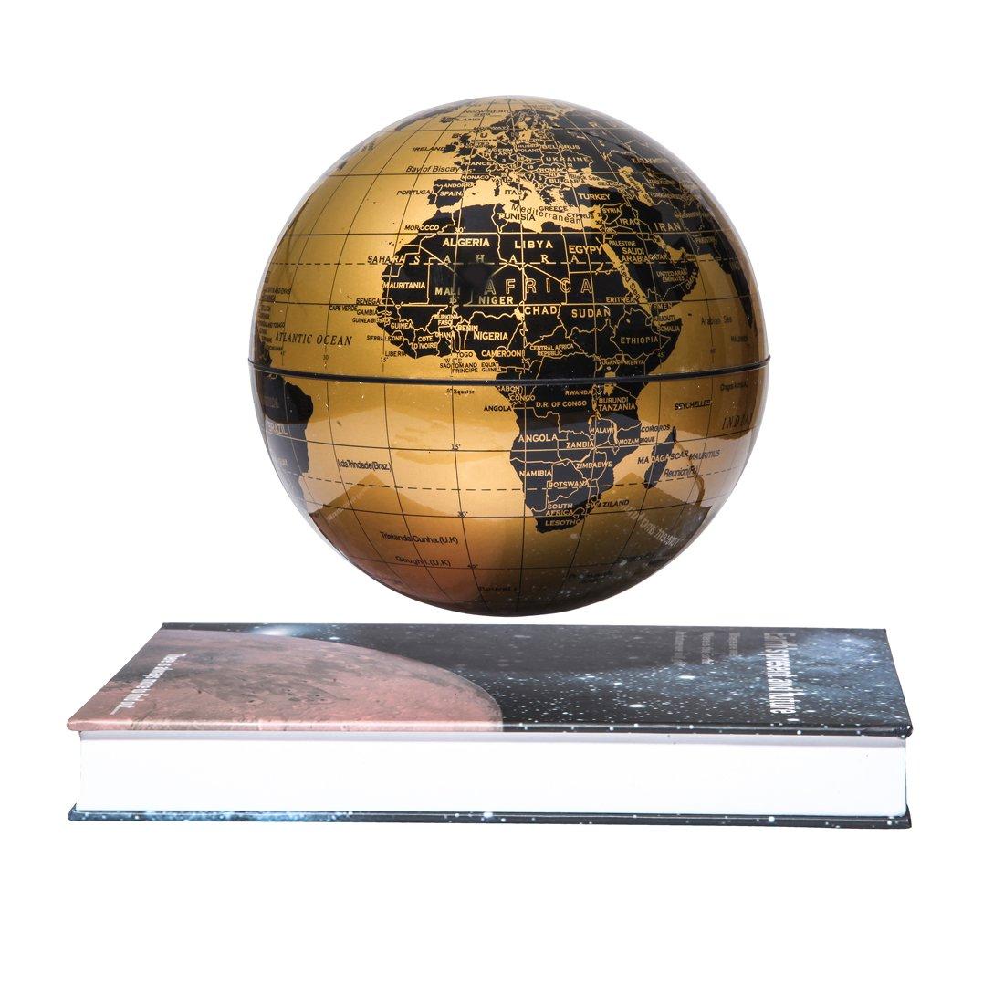 woodlev Magnetic Maglev Levitation Levitron Floating Rotating 6'' Globe Gold & Blue Book Style Platform Learning Education Home Decor (Gold)