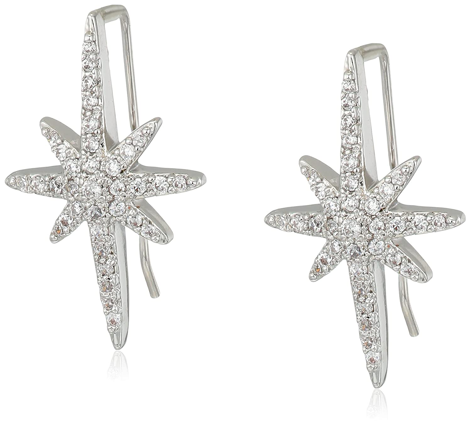 Vintage Style Jewelry, Retro Jewelry Betsey Johnson Womens Blue by Betsey Johnson Silver Tone Earrings Climbers with Pave Crystal Accented Starburst $42.00 AT vintagedancer.com