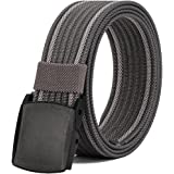 "Men's Nylon Belt, Military Tactical Belt with YKK Plastic Buckle, Durable Breathable Canvas Belt for Work Outdoor Cycling Hiking Skiing,Adjustable for Pants Size Below 46inches[53""Long1.5""Wide]"