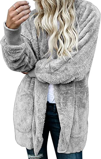 Womens Winter Warm Fleece Hooded with Pockets Open Front Cardigan Outwear Coat