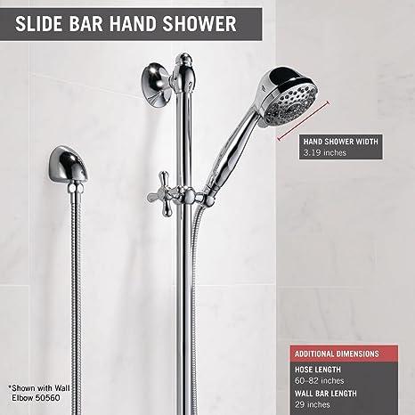 Delta Faucet 51708 Slide Bar Hand Shower, Chrome   Delta Vero Slide Bar  Handshower   Amazon.com