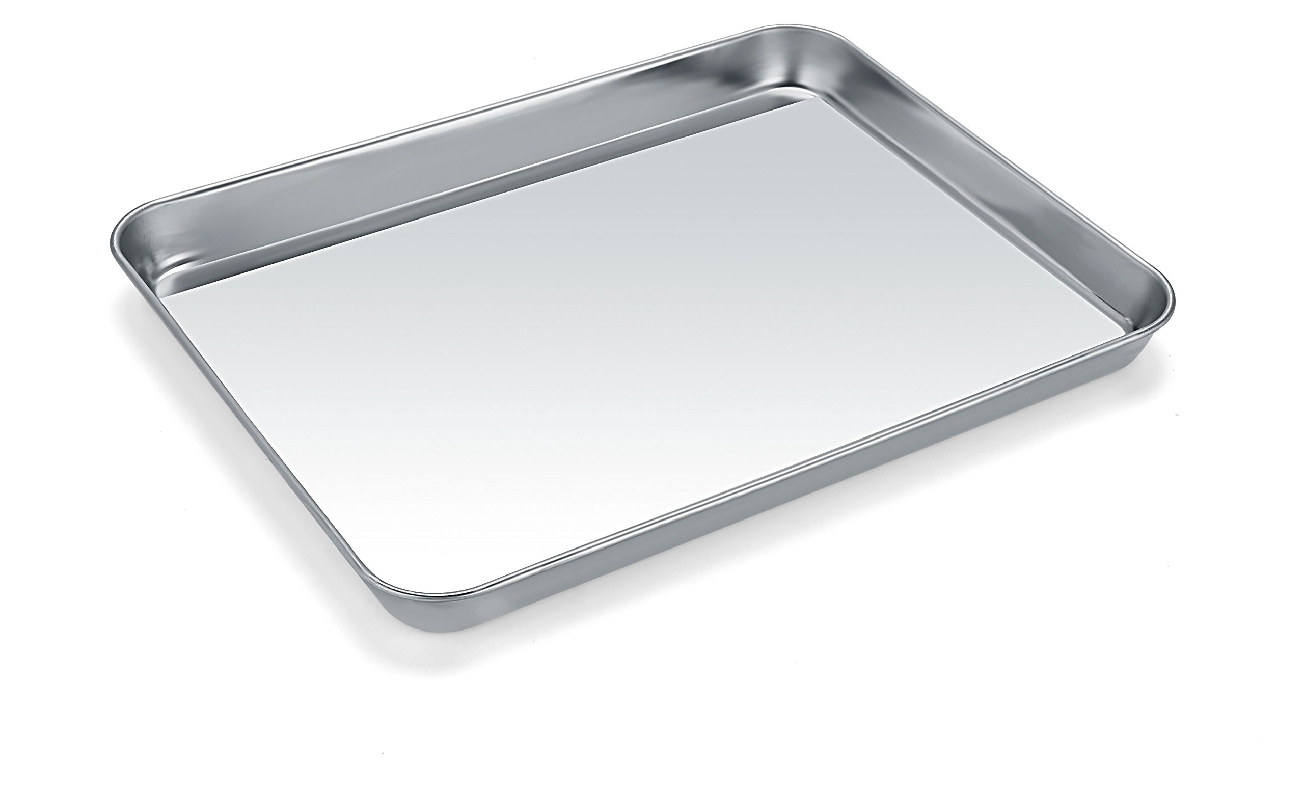 Small Baking Sheets, HKJ Chef Baking Pans & Stainless Steel Cookie Sheets & Mini Toaster Oven Tray Pans & Non Toxic & Healthy,Superior Mirror & Easy Clean