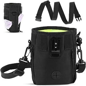 YOUTHINK Portable Pet Treat Bag Dog Training Bag with Adjustable Waist Bag Shoulder Strap Food Snack Small Item Storage Bags Black