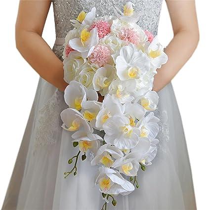 Fouriding Bouquet De Mariee Roses Hydrangea Phalaenopsis